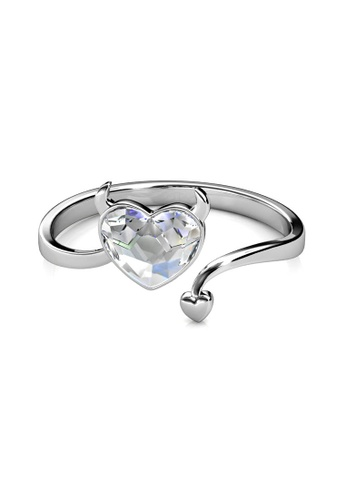 Her Jewellery silver Evil Love Ring -  Embellished with Crystals from Swarovski® 4A5F8ACD5572B1GS_1