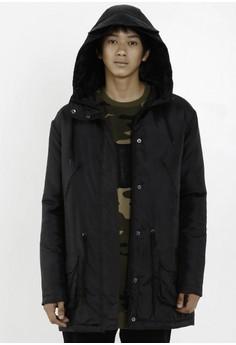 [PRE-ORDER] Black Waterproof Hooded Parka (3/4 length)