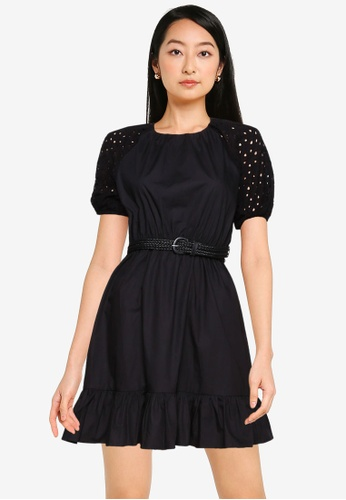 ZALORA BASICS black Eyelet Puff Sleeve Dress 3670CAA826CF09GS_1