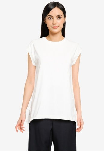 GLOBAL WORK white Knit T-shirt 666DAAA5CB9126GS_1
