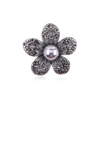 Glamorousky black Fashion and Elegant Flower Grey Imitation Pearl Brooch with Cubic Zirconia 2657BAC76F0DFFGS_1