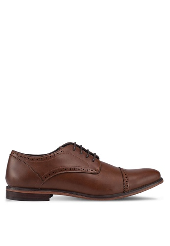 Burton Menswear London brown Tan Leather Look Lace Up Derby Shoes With A Toe Cap 98EC8SH78B5A13GS_1
