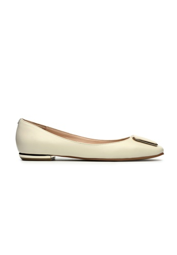Byford white and yellow Dial Square Toe Flats F0A3DSH623E32EGS_1