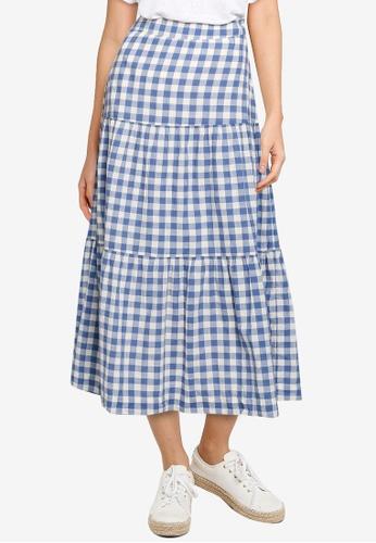 GAP blue Tiered Maxi Skirt 9C262AAF62ADEAGS_1
