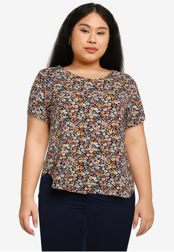 Only CARMAKOMA navy Plus Size Vica Short Sleeves Top 64AF6AA87C0556GS_1