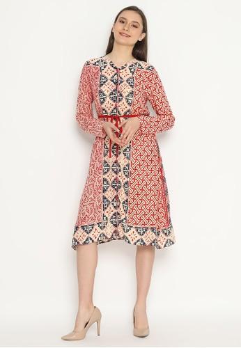KICHI BATIK red Outer Dress Batik Ainur 6743BAA12CBA0AGS_1