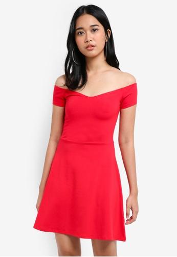 Miss Selfridge red Red Flare Bardot Dress E8DB3AA5B0EC14GS_1
