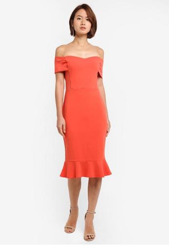 Dorothy Perkins pink Coral Bardot Dress 888ACAAE016AE6GS_1