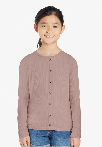Gen Woo pink Long Sleeved Rib-knit T-shirt By Gen Woo 336C3KA7F4C80EGS_1