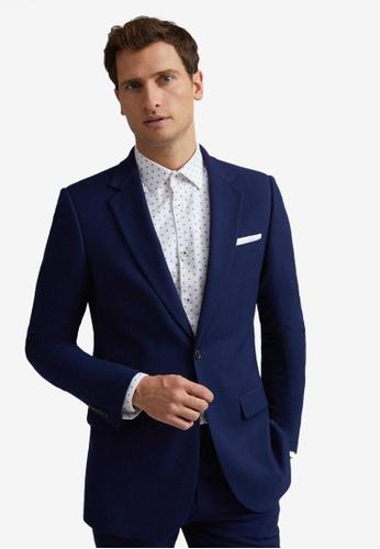 Burton Menswear London navy Blue Textured Skinny Fit Suit Jacket 22602AACBFCE10GS_1