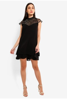 85d790f4c2dd 49% OFF Lipsy Black/Gold Embroidered Swing Dress RM 449.00 NOW RM 226.90  Sizes 8 10 12
