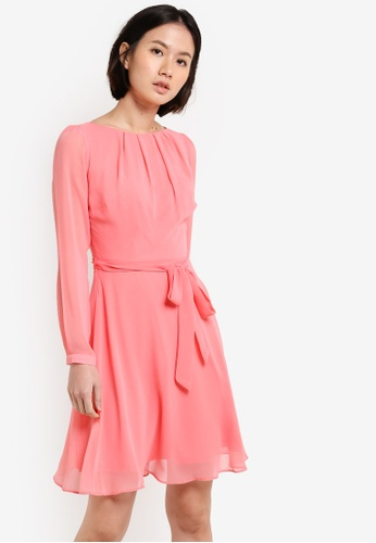 Dorothy Perkins pink Long Sleeved Coral Dress DO816AA32UVFMY_1