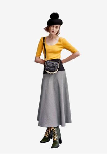 iROO multi Contrast Flare Skirt 19E9FAADE01DD2GS_1