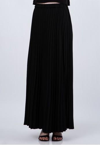 The Executive black Pleated Maxi Skirt CF5FCAA19323A1GS_1