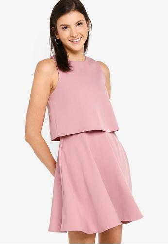 ZALORA BASICS pink Double Layer Fit & Flare Dress 716D6AA77A0A3CGS_1