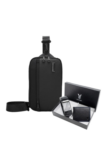 Playboy black Men's Gift Set - Genuine Leather RFID Blocking Bi Fold Wallet / Genuine Leather Belt / Sling Bag 6544AAC3F4497CGS_1