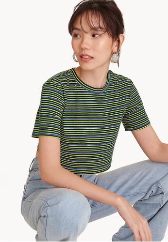Pomelo green Stripe Cropped Tee - Green 917CAAA818D2F5GS_1