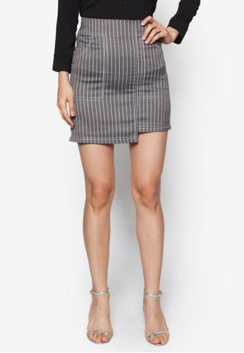 不對稱下擺條紋A 字裙, 服飾zalora 折扣碼, 迷你裙