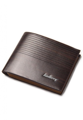 LOVENGIFTS brown LOVENGIFTS Wood Line Bifold Wallet For Men (Dark Brown) LI189AC29NRAMY_1