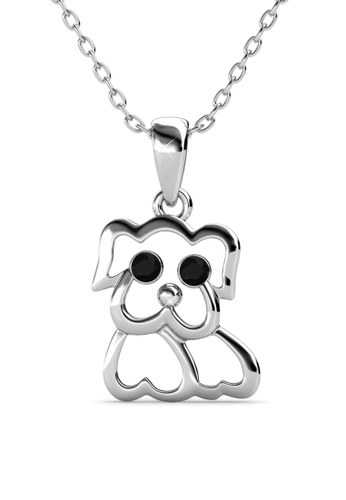 Her Jewellery silver Pug Pendant (White Gold) -  Embellished with Crystals from Swarovski® 2176EACE8FBFE2GS_1