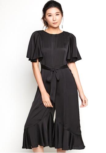 Nichii black Butterfly Sleeve Ruffle Jumpsuit E5C3DAAF286718GS_1