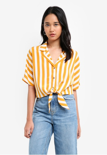 TOPSHOP yellow Stripe Cropped Tie Shirt 989BEAA6953244GS_1