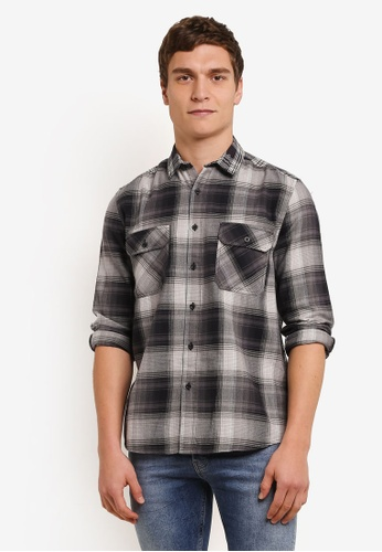Topman grey Casual Patchwork Shirt TO413AA0S7Z2MY_1
