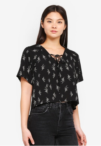 Something Borrowed black Relaxed Boxy Top 84D62AAD4A44EEGS_1