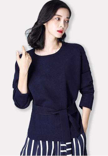 Sunnydaysweety blue F/W Deep Blue Cowl-neck Long Sleeve Top A09275701DGBL SU443AA2V7KAHK_1