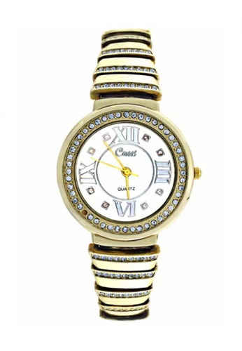 Dooka gold Cussi Diamond Frame Stainless Steel Strap Watch DO079AC53VGCPH_1