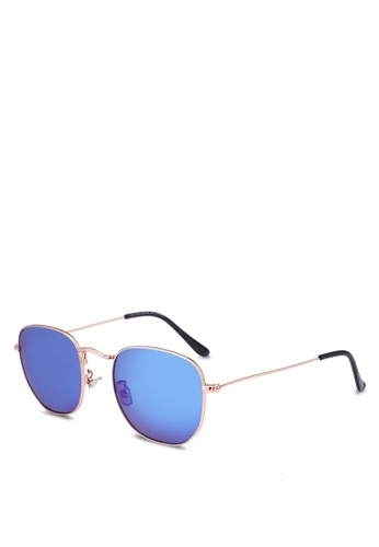 Topman blue Blue Revo Hexagon Sunglasses E7FF0GLDF1EE37GS_1
