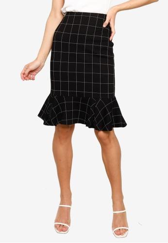 FORCAST black Mya Grid Fluted Hem Skirt 7B30AAA8DFA26EGS_1