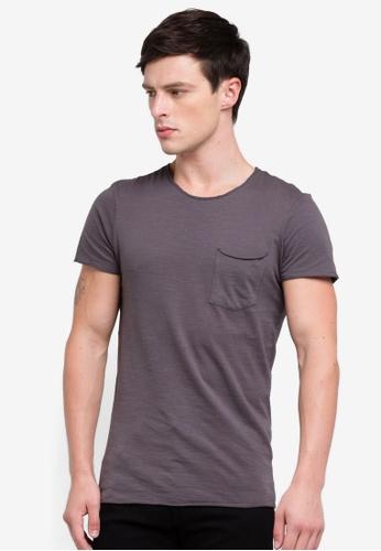 OVS 黑色 毛邊口袋T恤 FF3A0AAC908AD4GS_1