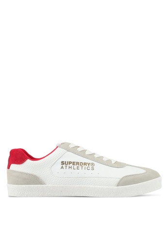 Superdry white and red Superdry Athletics Trainers 114DASHDDD24A7GS_1
