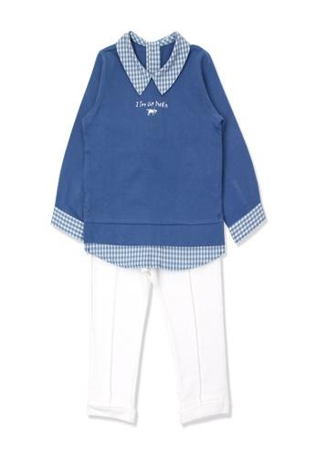 Organic mom blue Organic Cotton Leo Top & Bottom Outfit DC873KA00D7B70GS_1