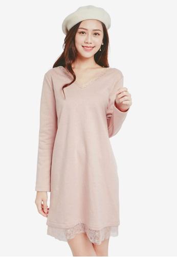 Yoco pink Laced Hem Dress 6FDB4AAF27F9FBGS_1