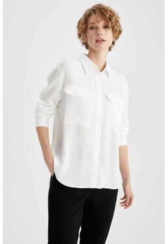 DeFacto white Woman Woven Long Sleeve Shirt E15B6AA8845F53GS_1