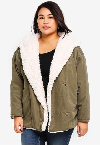 Junarose green Plus Size Curly Parka Jacket B2A38AA90E4218GS_1