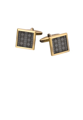 Glamorousky silver Fashion Vintage Plated Gold Pattern Geometric Square Cufflinks B051AAC6F2F56AGS_1
