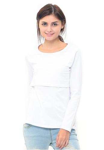 MOOIMOM white MOOIMOM Basic Long Sleeve Nursing Top Baju Hamil Menyusui - White 86E73AA8C51C1FGS_1