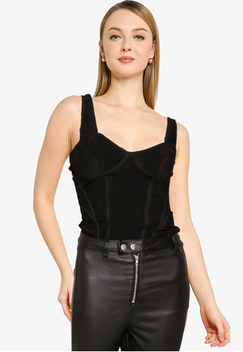 MISSGUIDED 黑色 網眼Cupped 連身衣 617DEAA59774A6GS_1