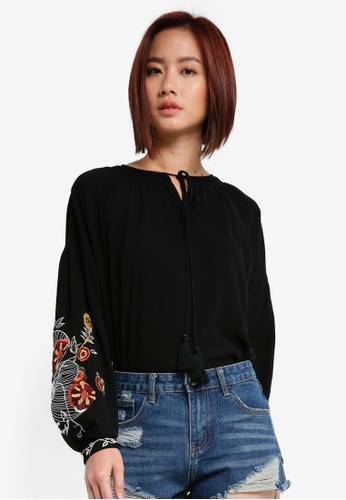 ZALORA black Long Sleeve Top With Floral Embroidery AD313AAB716641GS_1