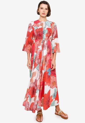 H&M orange and multi Voluminous Printed Dress 20B66AAD3BFF51GS_1