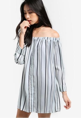 Something Borrowed blue Stripe Off Shoulder Dress 9FB46AA748FB08GS_1