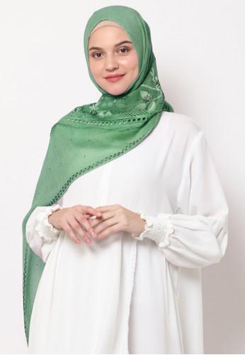 KASHKHA green Pashmina Scarf Cotton Lace with Stone by Kashkha 2C587AA2384D8EGS_1