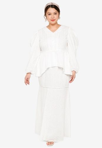 Lubna white Nursing Plus Size Balloon Sleeve Modern Kebaya A6DD9AA95F96F1GS_1