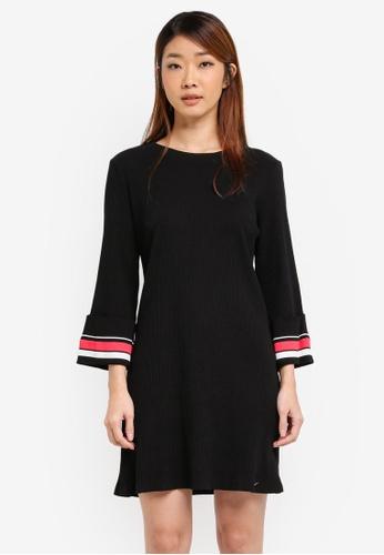 ZALORA black Shift Rib Dress With Stripe Cuff C2397AAEC1EAC5GS_1