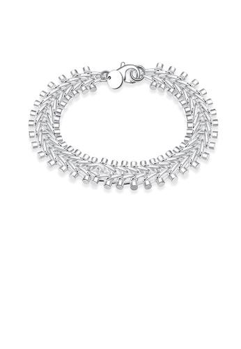Glamorousky silver Simple Fish Bone Bracelet DE03DAC36D16F5GS_1