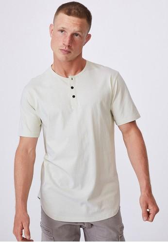 Cotton On beige Longline Scoop Henley T-Shirt DA8AFAA4CE9EC2GS_1