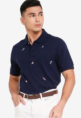 Brooks Brothers blue Knit Polo Shirt A119EAAE33CC99GS_1